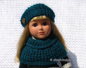Knitting Pattern 2 PC Set for 18 inch Doll - Knitting Patterns - Jane Slouchy Hat and Collar for American 18 inch Doll Gift for Girl