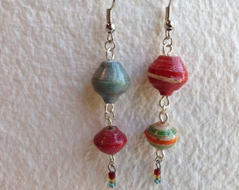 Mismatched paper bead earrings