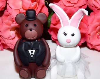 Bear and Rabbit Wedding Cake Topper