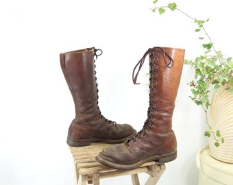 Lace Up Boots Logger Boots Moc Toe Boots Work Boots 1960s Boots John Palmer Boots Lineman Men 7.5 Women 9