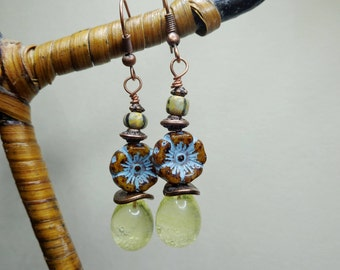 Bohemian earrings, romantic, drops earrings Topaz Lampwork Glass Czech beads, bright, transparent, short loops