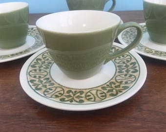 Set of 4 Vintage Coffee Cups with Saucers in Avocado Green