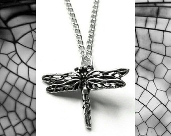 Silver Dragonfly Necklace // Silver Dragonfly Pendant // Gift for her