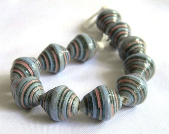 Paper Beads - Paper Bead Jewelry Supplies - Focal - Hand painted - Lot of 11 - #1450