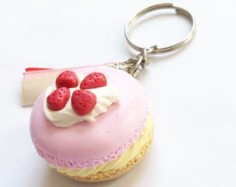 Macaroon Keychain Strawberry and whipped cream. Macaroon with whipped cream and strawberry keychain