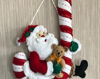 Santa With Candy Cane Felt Wall Hanging Decoration Completed Handmade from Bucilla Kit