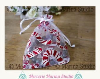 pretty 10 organza bags for Christmas sugar cane about 12x9cm