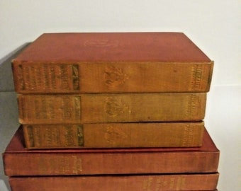 Six Faded Red Literature Books-Display/Staging/lDecor 1899-....