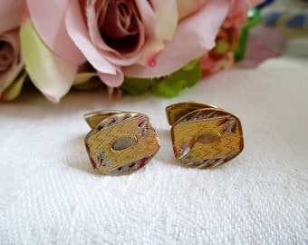 Vintage Cufflinks Victorian Gold And Silver Hand Carved Etched Leaves Detailed Design Cuff links