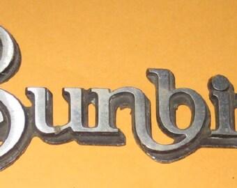 Vintage Car emblem Sunbird / Old/ used/ vintage/ vehicle/