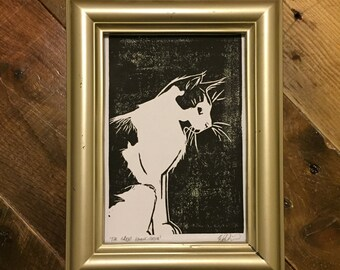 The Great Emancipator - Handmade Cat Block Print