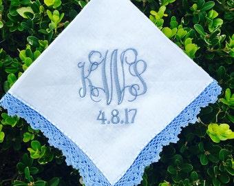 Womens Lace Monogrammed Handkerchief, Monogram Hankie, Monogrammed lace hankie