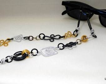 Silver and Gold Eyeglass Lanyard Necklace Chain Geometric shapes Aluminum Lightweight Fashionable Unique Stylish No. SL3