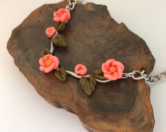 Cherry Blossom Polymer Clay Spring Bib Statement Necklace by Chantel - Christmas Gift for Her