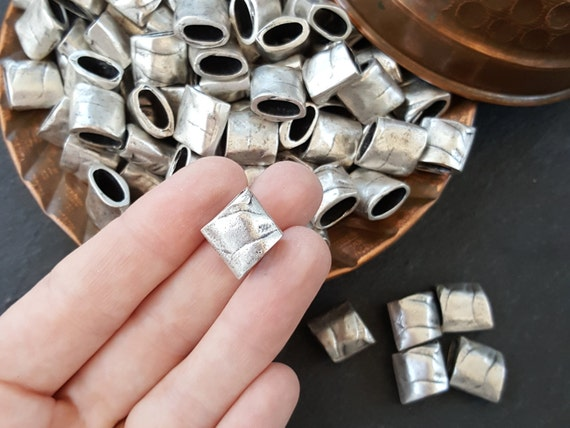 6 Large Weighty Organic Textured Slide Bead Band Spacers   Matte Antique Silver Plated by Etsy