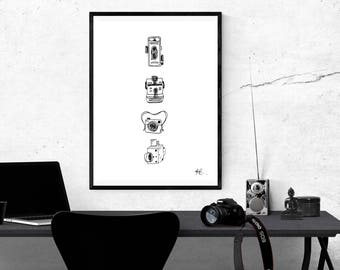 Vintage Cameras Hand Drawn Graphic A4 Printable Black and White