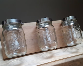 Reclaimed Wood Mason Jar Organizer. Bathroom Caddy. Mason Jar Storage.