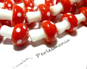 Beaded jewelry 10 handmade 12 by 16 mm PM red mushroom glass beads