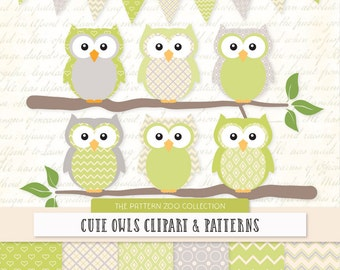 Patterned Bamboo Owls Clipart and Digital Papers - Green Owl Clipart, Owl Vectors, Baby Owls, Cute Owls