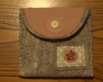 Cute pink handmade felt purse
