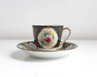 Demitasse Teacup, Black Teacup, Black Demitasse, Teacup & Saucer, Teacup Set, Black and Pink Teacup, Floral Teacup, Floral Demitasse Vintage