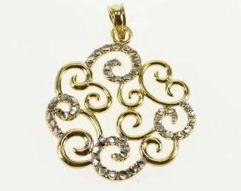10k Two Tone Textured Scroll Cluster Pendant Gold