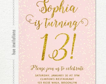 13th birthday invitation for girl, pink gold teen birthday party invitations, blush pink gold glitter, rustic chic shabby confetti printable