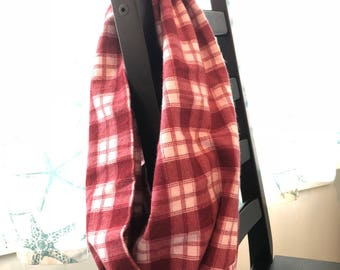 Cranberry & Cream Plaid Flannel Infinity Scarf