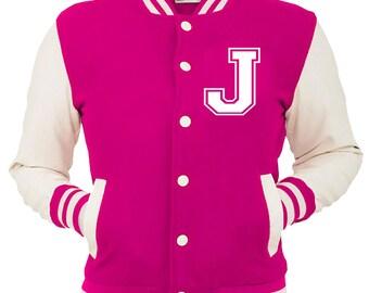 Personalized Pink Varsity Jacket, Base Ball Jacket, Letterman Jacket Pink & White - Custom Letter J