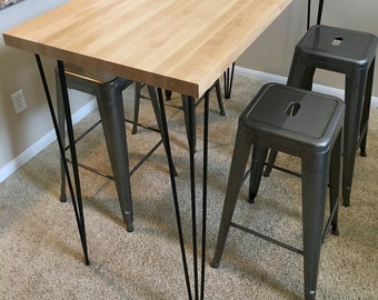 """Steel Hairpin Table Legs, 41 inch 3 Rod Raw Steel , Bar Height (set of 4) 7/16"""" Raw Steel Pub Counter Height"""