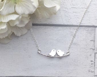 Bird Necklace, Birds on a branch, love bird necklace, bird necklace, animal jewellery, gifts for her, bird jewellery