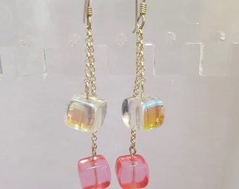 Funky Sterling Silver Pink and Clear Cube Drop Earrings