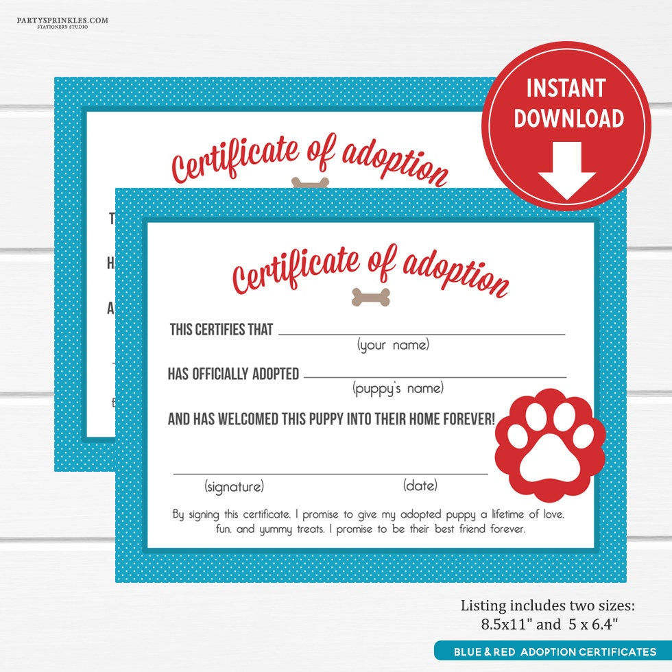 Blue and red puppy adoption certificates puppy party favors zoom xflitez Gallery
