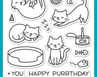 Lawn Fawn Clear Photopolymer Rubber Stamp Set Meow You Doing