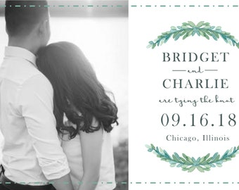 Digital Download - Custom Photo Save the Date Postcard with Greenery