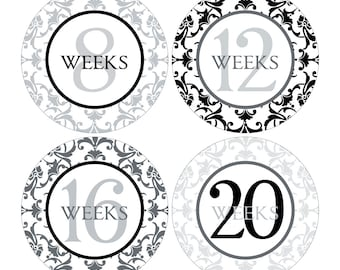 12 Weekly Pregnancy Mama-to-be Maternity Waterproof Glossy Stickers  - Monthly stickers available - Design W003-07
