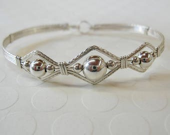 Silver Bead Bracelet - Bright Sterling Silver Beads Wirewrapped Bracelet - Affordable Bracelet - Stackable Bangle - Gifts For Her