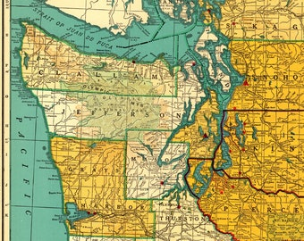 1955 Rare Size Antique WASHINGTON State Map Poster Print Gallery Wall Art Map Collector Gift For Traveler Birthday Wedding Anniversary 8448