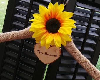 Personalized Sunflower Hanger,  Fall Burlap Wedding Dress Hanger