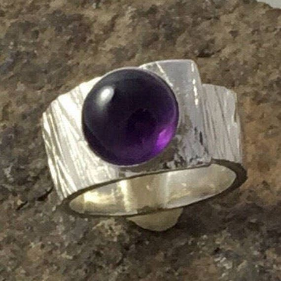 Silver Amethyst Ring \ Adjustable Ring \ Sterling Silver Statement Ring \ Gifts for Her \ Wide Band Ring \ Silver Ring \ Jewelry Handmade