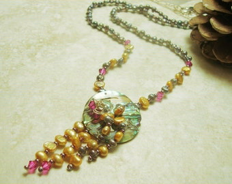 Aurora Abalone- Black & Gold Pearl Necklace-Handmade -Beach Jewelry