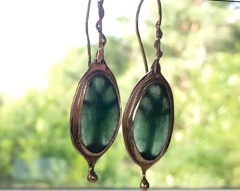 Tree earrings, green stone earrings, Art Nouveau earrings, green aventurine dangles, handcrafted silver earrings
