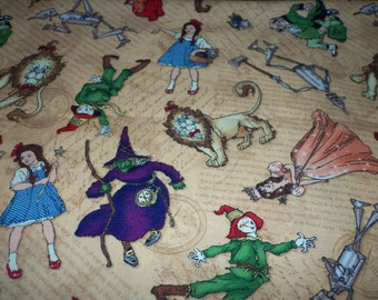 Fabric Wizard Of Oz Dorthy Tinman Cowardly Lion Scarecrow WitchTan Background New Fat Quarter BTFQ