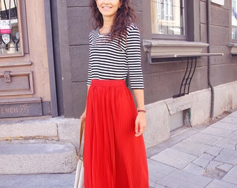 Red Chiffon Maxi Skirt, Long Pleated Skirt, Floor Length Boho Skirt, High Waisted Bridesmaid Skirt, Vintage Skirt