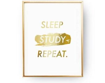 Sleep Study Repeat Print, Teen Gift, Teen Room Decor, Real Gold Foil Print, Teen Print, Teenage Wall Art, Teenager Inspiration, Student Gift
