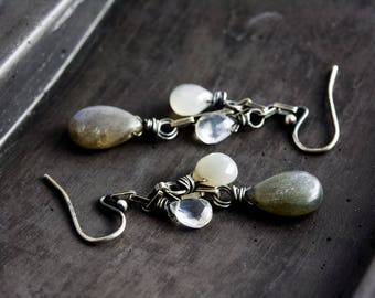 Labradorite Earrings, Dangle Earrings, Moonstone Earrings, Drop Earrings, Gray Moonstone,  Sterling Silver, Astrological Earrings, PoleStar