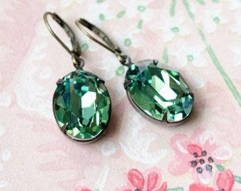 Blue Green Crystal Earrings - Original Estate Earrings - Erinite - Antique Brass