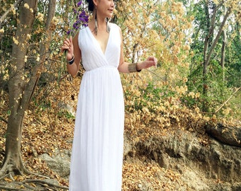 Wedding white dress V neck chiffon evening long maxi Sun dress all size