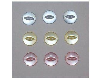 60 x basic buttons 11 mm 2 holes: 3 colors set M - 000820