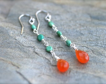 Turquoise, Orange Carnelian Gemstone Teardrop Earrings, Sterling Silver Earrings, Turquoise Earrings, Orange and Turquoise Earrings